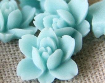 12 pcs of resin lotus flower cabochon RC0011-30-aqua blue