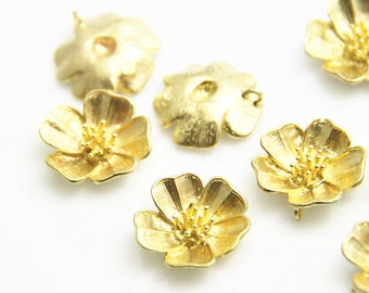 6 pcs of brass flower  charm 20mm-1660-Raw brass