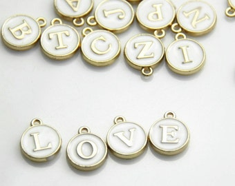 6 pcs of metal letter charm pendant double sided enemal-12mm -1300-white and gold