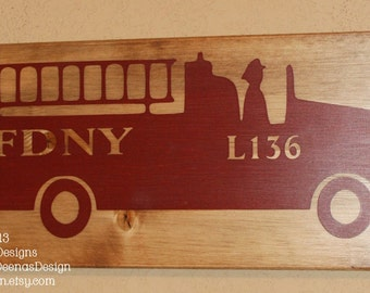 Firefighter Wall Art, Firefighter Decor, Distressed Wall Decor, Custom Wood Sign, Firetruck  - Fire Truck Accent Sign With Name/Dept