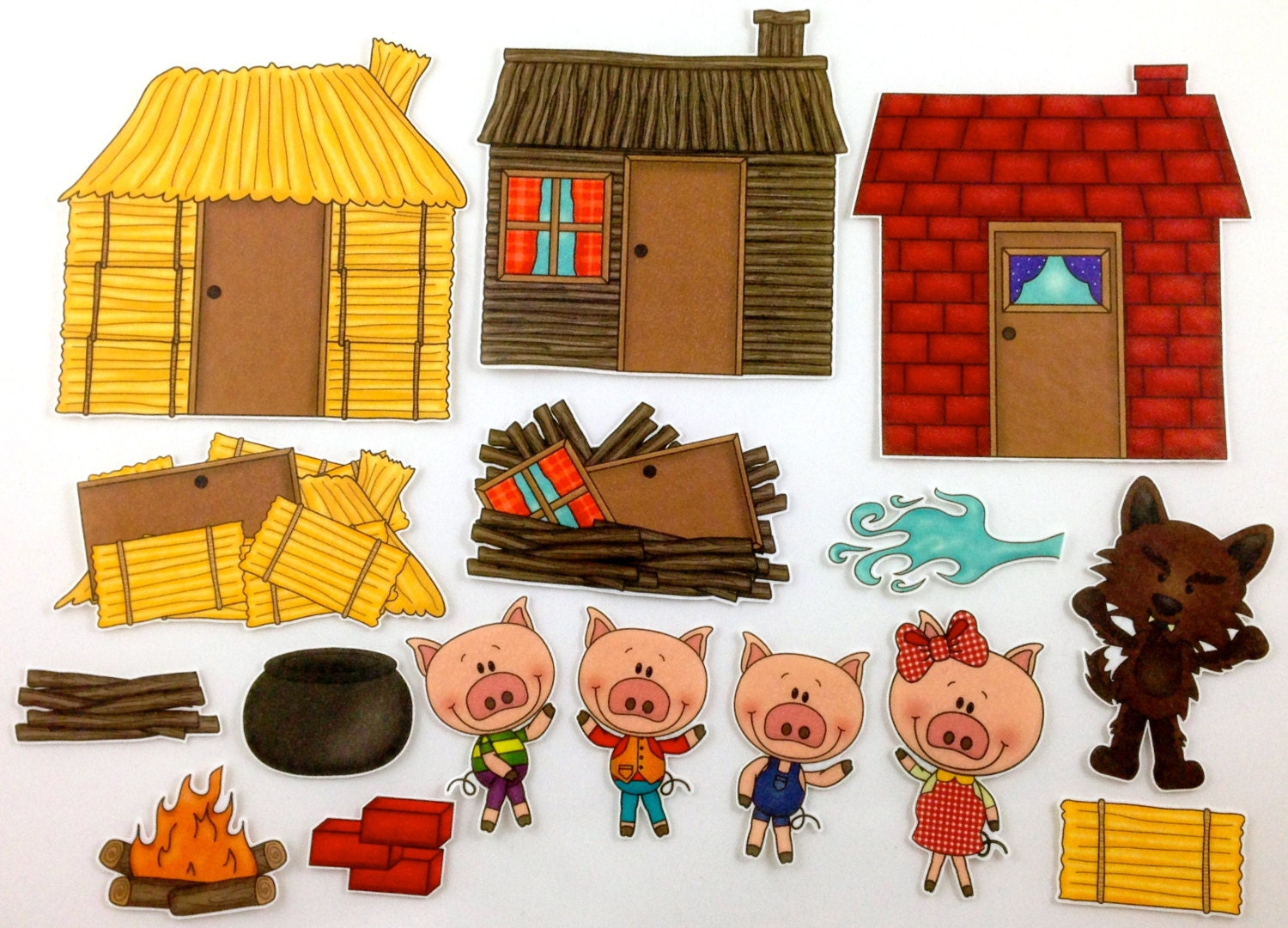 This is a photo of Zany Three Little Pigs Printable Story