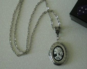 White Lady Lolita Skull Antique Silver Locket Pendant Necklace