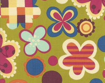 Avant Garden by Momo for Moda. Geometric Cheery Blossoms in Clover 16121 15