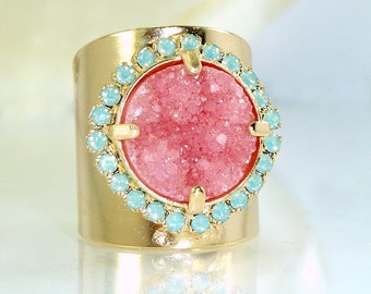 Womans Gift, Pink Stone Ring, Druzy, Gift For Her, Druzy Ring, Cocktail Ring, Wide Band Ring, Druzy Jewelry, Statement Ring By Inbal mishan.