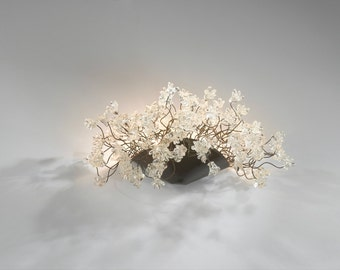 Wall lighting lamp with clear Krystal flowers - Sconce  Wall light with clear jumping flowers