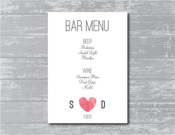 Custom bar menu diy wedding sign printable modern thumbprint heart