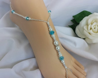 Barefoot Sandals Foot Jewelry Anklet - Pearl and Crystal Sandal