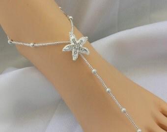 SALE Silver Stardust  Rhinestone Starfish Barefoot Sandal - Starfish Foot Jewelry Beach Wedding Jewelry