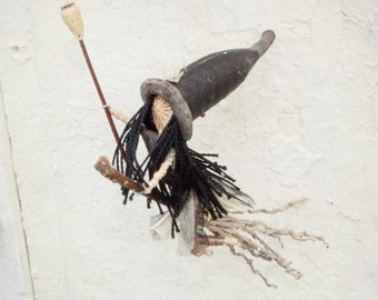 Natural halloween decor, Witch riding a broomstick Mobile, Natural waldorf home decor.