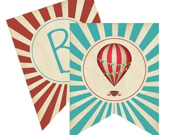 Vintage Hot Air Ballon Party Printable Banner - INSTANT DOWNLOAD BANNER - Red and Teal Vintage