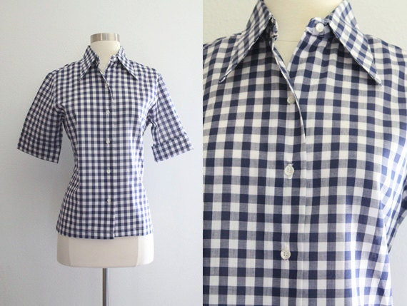 1950s gingham shirt vintage 50s 60s navy blue and white for Navy blue gingham shirt