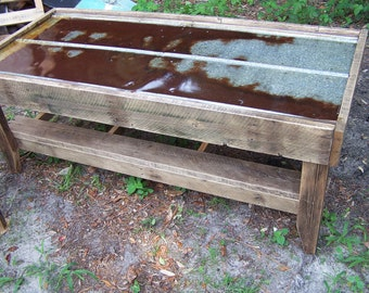 Reclaimed Tin Roof and Oak Coffee Table