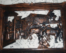 """Vintage Old West 3 D Picture Rustic Wall Hanging , Stagecoach and riders at """"Traveler's' Rest"""" by Dart Ind. USA"""