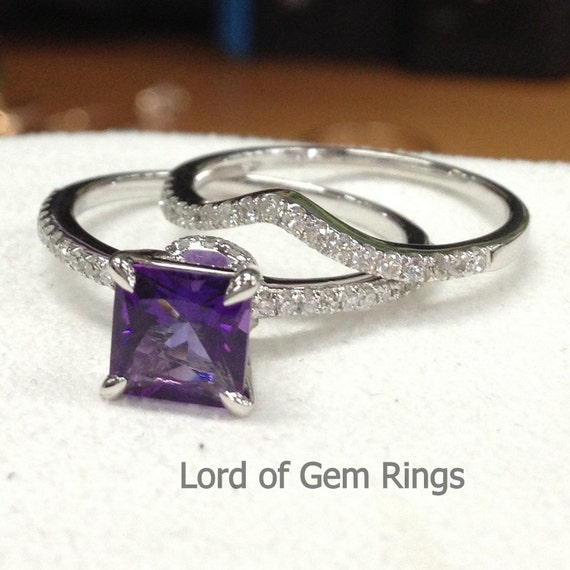 2 wedding ring setsprincess cut purple amethyst with by