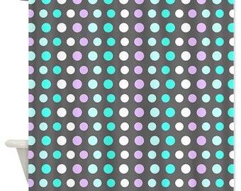 Grey Shower Curtain - Polka Dots #2 - Ornaart Design