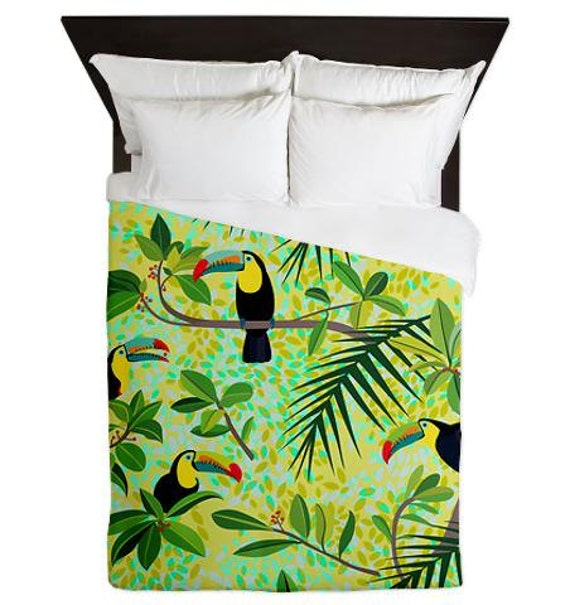 articles similaires toucans housse de couette queen vert tropical forest ornaart design. Black Bedroom Furniture Sets. Home Design Ideas
