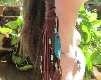 Native American One Hair Wrap Brown  Deerskin Leather With Turquoise And Silver Beads, Turquoise And Brown Leather Feathers Hair Wrap