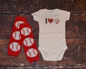 NB to 5T Baby Boy  I Love Baseball Jersey Style Custom Shirt and Baseball Themed Leg Warmers