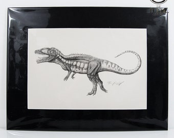 Carcharodontosaurus signed print with mount