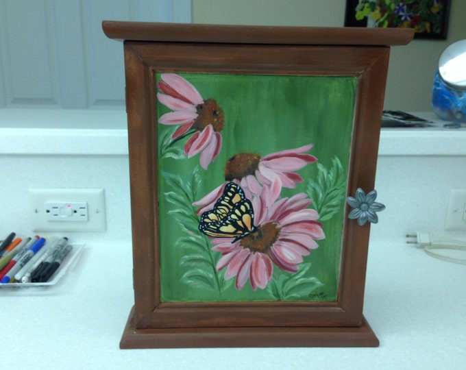 """Solid Wood 14 1/2"""" x 13 1/2"""" x 3"""" Cabinet with 3 shelves. Coneflowers and butterfly painted in Acrylics, Metal Flower Handle"""