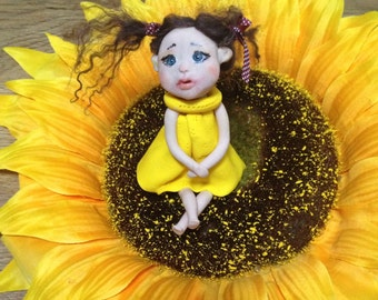 Polymer clay baby art doll sculpted