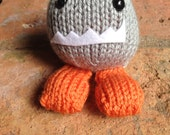 Hand-Knit Plush Monster Toy Grey and Orange