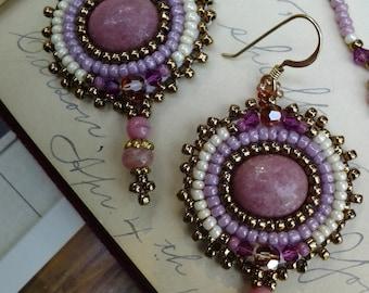 Art Deco Art Nouveau Rhodolite bead embroidered earrings- Art Nouveau - Art Deco- Pink and cream - BF8
