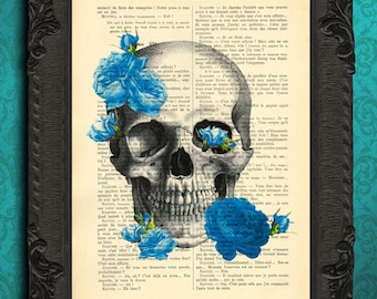 Sugar skull blue flowers dictionary art print gift idea for him boyfriend blue rose skull pastel goth blue flower art wall decor 447