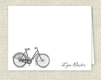 Personalized Note Cards, Woman's Bike Stationery - Set of 10