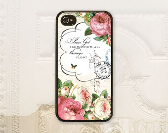 "Christian Vintage rose phone case iPhone 4 4S 5 5s 5C 6 6+ Plus, Samsung Galaxy s3 s4 s5 s6 ""Praise God from whom all blessings flow"" C2856"