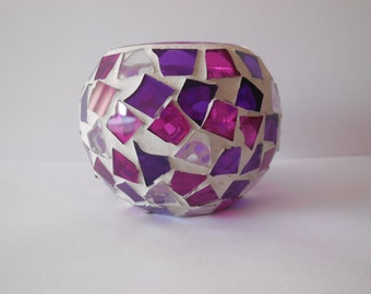 Custom Mosaic Soy Wax Candles in Pink and Purple Mosaic Glass Jar