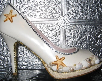 white pearl beach wedding heels with sand, shells, crystal rhinestones and glittered soles