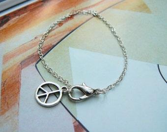 Silver Peace Sign Charm Bracelet