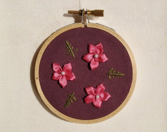 Ribbon Flowers Embroidery Hoop