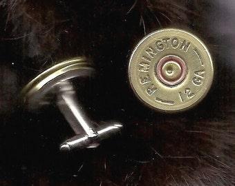 Mens cuff links- mens shot gun shell cuff link- Bullet - gifts - Winchester 12 ga.