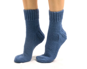 """WOMAN WOOL SOCKS """"Touring back roads"""".  Hand knitted from blue color sheep wool yarn. Great for hiking"""