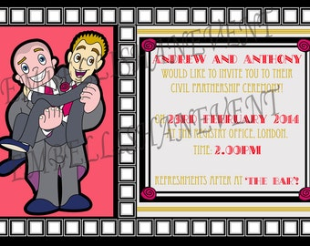 Art deco style Civil partnership/ wedding invitations. Gay Lesbian and Transgender character invites Groom and Groom,Bride and Bride