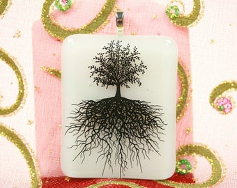 Handcrafted,  Fused Glass Pendant, Black Tree of Life, White, p278