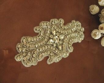 rhinestone bridal Applique, crystal applique, diamond applique, bridal Sash applique, Bridal Applique, wedding applique, ZP034