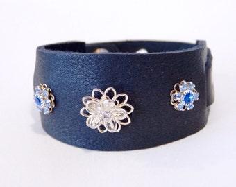Leather cuff, leather bracelet, Black Leather Swarovski crystal cuff