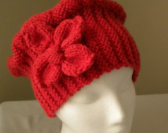 Knit CLOCHE HAT PATTERN with Flower