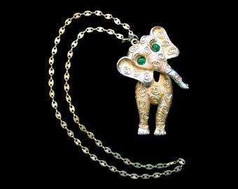 Vintage Jonette JJ  Elephant Necklace with Green Eyes - Articulated Neck