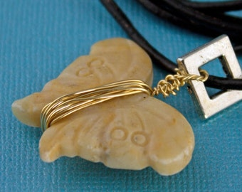 Carved Stone Butterfly Wire Wrapped  Necklace