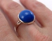 Bezel Ring - Royal Blue, silver plated