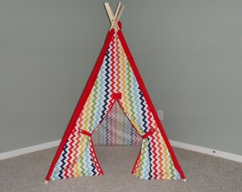 Kids Teepee in Rainbow Chevron with solid accents, Play Tent, Kids Fort, Tipi Wigwam