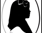 """Custom hand cut silhouette of your profile. Unique art form transforming black paper into black shadow portrait of you. Matted 5x7"""" size"""
