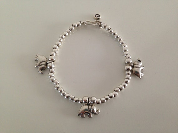 Simple and Lovely Handmade Sterling and Karen Silver Little Elephant Charm with handmade silver beads // Hook and Eye Clasp