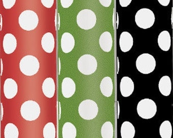 "Buy Any 3 & Save! Polka Dot Gift Wrap - 30"" x 96"" Rolls - Red, Green, Black"