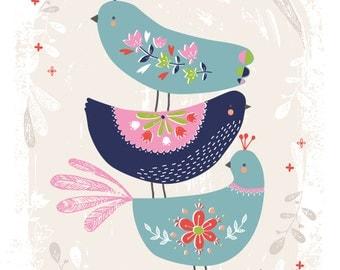 "Folk Birds 8 x 10"" giclee print"