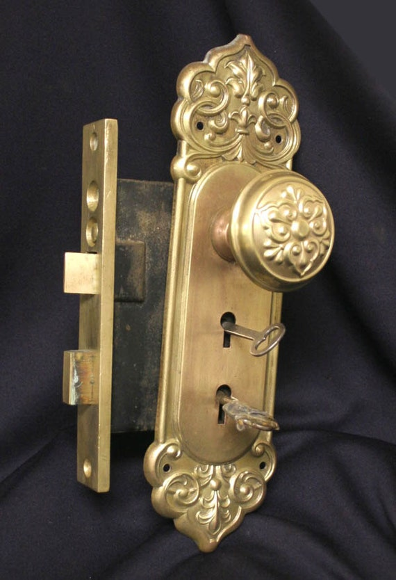 Items Similar To Antique Brass Beaux Arts French Exterior Entry Door Lockset Knob Plate Lock Key